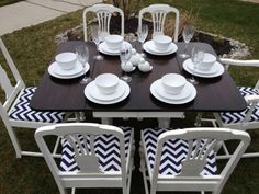Distressed Duncan Phyfe Styled Table and Six Chairs by Thistle Thatch Designs