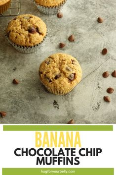 Blend the sweet, creaminess of bananas and chocolate chips together and you have an amazing muffin that is perfect for breakfast, snacks, or anytime! #bananamuffins #muffinrecipe #easybananachocolatechipmuffins