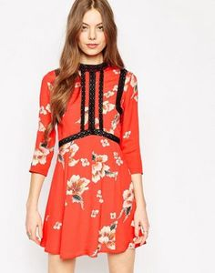 ASOS Premium Floral Printed Dress with Ladder Inserts