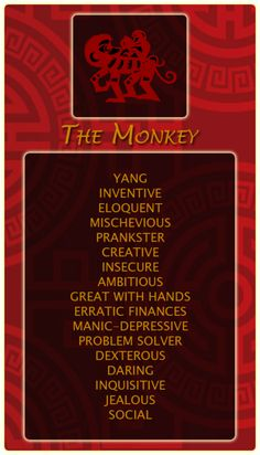 Chinese Signs: Monkey -