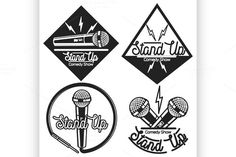 Stand up comedy show emblems by Netkoff on @creativemarket