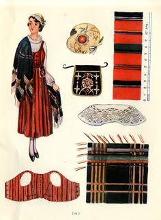 Viljakkala woman's dress taken from Suomalaisia Kansallispukaja [Finnish National Costume] by Tyyni Vahter, illustrations by Greta Strandberg and Alli Touri