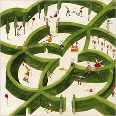 Friends in hedged maze  by Silke LEFFLER
