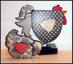 Cute Rooster and Hen Set from Crafty Girls Workshop...: Wood Crafts