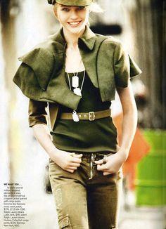 Shasha Pivovarova, Military Issue, American Vogue, March 2010, by Mario Testino