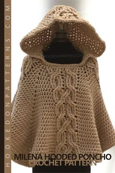 Milena Hooded Poncho crochet pattern from Hooked On Patterns, designed by Ling Ryan. Crochet this gorgeous chunky and warm hooded poncho. With a decorative twist cable design and cosy hood, it is perfect for chilly days or nights. This pattern can be adapted for any Ladies sizes, including plus sizes! #crochet #hooded #poncho #pattern