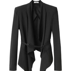 Pre-owned Helmut Lang Sheer Belted Draped Wool Black Blazer ($228) ❤ liked on Polyvore featuring outerwear, jackets, blazers, black, helmut lang, drapey blazer, wool jacket, shawl collar jacket and sheer jacket