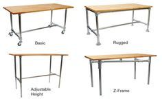 Industrial table kits.  Just pick the frame and add your own top- like old door or reclaimed wood.