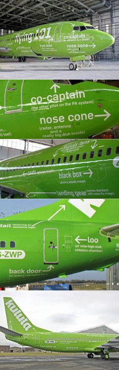 South African airline Kulula Air paints one of their planes with industrial-design-style callouts. I like their sense of humor. =]