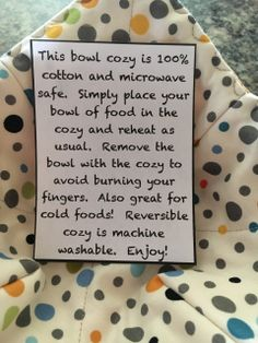 Sew A Microwave Safe Bowl Cozy Amp Free Printable Gift Tags