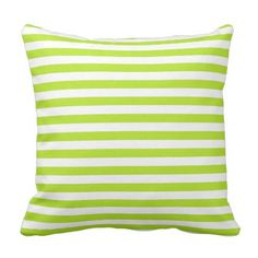 Lime Green and White Stripes Throw Pillow - home decor design art diy cyo custom