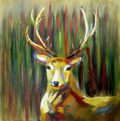 Urban Deer Head Oil Painting Art Canvas - Ready To Hang - 1 mt Square $132.00  http://www.wallartroad.com/urban-deer-head-oil-painting-art-canvas-ready-to-hang-1-mt-square/  #wallartroad #fathersday #deer