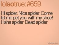 "Just add in a quick scream after ""petting"" the spider with my shoe and you have me... :P"