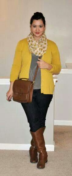 great outfit for running around town. love the combo of this yellow scarf with brown boots and purse.