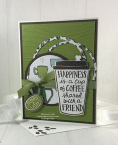 Coffee Cafe Thank you cardMy fun Coffee Cafe Thank you card was one of the swaps I made for our group. This whole Stampin'Up! suite of products is amazing! Being in the Seattle area, home of Starbucks, I can't wait to play more with this set!For this card start with a...