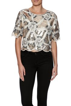 Bursts of floral patterned sequins dress the front of this short sleeve top with a scalloped hem silky back and slightly cropped fit.  Sequin Floral Top by Molly Bracken. Clothing - Tops - Night Out Clothing - Tops - Short Sleeve North Shore Boston Massachusetts