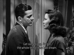 "Dana Andrews as Det. Lt. Mark McPherson to Gene Tierney as Laura Hunt in ""Laura"" (1944)."