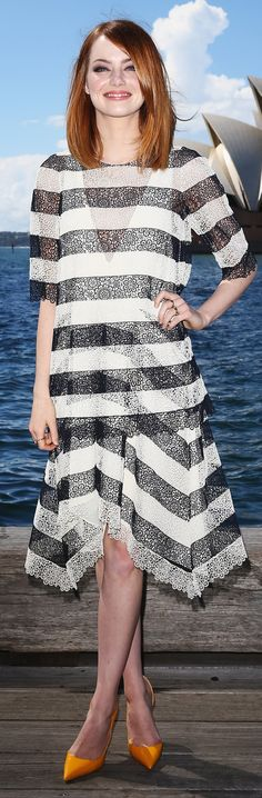 Loving Emma Stone in black and white lace Chloe stripes