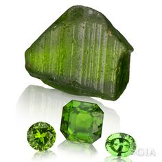 """Peridot is only found in green, due to the iron that is part of the gemstone's structure. Colors range from summery light-yellow-green to a deeper """"7 Up bottle"""" green. Birthstone for August."""