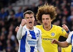 Just after the hour mark Brighton pulled one back through midfielder Solly March's (left) instinctive finish Brighton, Premier League Champions, One Back, Football, Chelsea Fc, Sport, Manchester City, March, Seasons