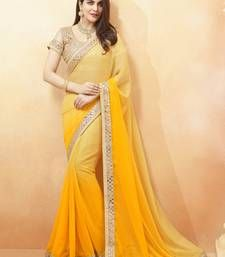 Buy yellow embroidered shimmer saree With Blouse shimmer-saree online