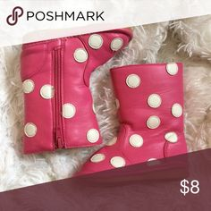 Squeaker boots Pink polka dot squeaker boots.  Squeaker is removable. Size 4 Shoes Baby & Walker