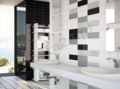 Ape Loft Gris 10x30 cm Grey Bathroom Tiles, Kitchen Wall Tiles, Yellow Bathrooms, Vintage Bathrooms, Bathroom Colors, Bathroom Wall, Bathroom Interior, Small Bathroom, Bathroom Design Layout