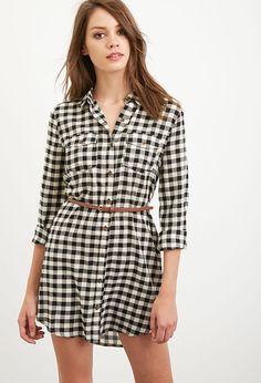Belted Gingham Shirt Dress | Forever 21 - 2000167403
