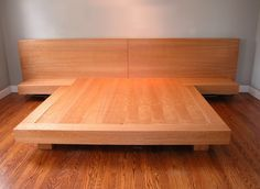 platform king size bed | King size platform bed with surrounding shelf , floating nightstands ...