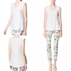 NWT ZARA SEQUINNED TOP Ice White SIZE M (ONE SIZE) #ZARA #VNeck