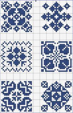 Blue tiles 01 | Free chart for cross-stitch, filet crochet | gancedo.eu