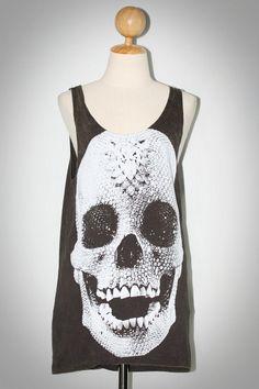 Crystal Diamond Skull Bleached Charcoal Black Tank Top Sleeveless TShirt Size L