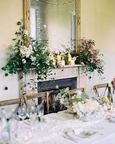 All brides should have oversized mantlepiece arrangements with oodles of candles! Then get to shoot it! mantel flowers, greenery and white flowers, wedding reception decor, lush garden style design, Wedding Mantle, Wedding Fireplace, Wedding Arrangements, Floral Arrangements, Flower Arrangement, Floral Wedding, Wedding Flowers, Flower Installation, Flower Company