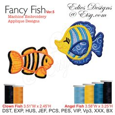 Fancy Fish Design Set APPLIQUÉ Machine Embroidery Applique Designs Digital Download by EdiesDesigns on Etsy