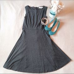 SATURDAY SALELOFT Petites Gray Dress This Petite 4 dress is a must have from Ann Taylor LOFT! It is super soft and only worn twice! This dress zips up the back from right below the hips, the zipper is lined with a darker black fabric for stand out. Form fitting around the bust and flows out to the bottom. Easy dress to throw on when late to work, pairs with anything! Don't like the price, Make me an offer  you don't know if you don't ask... I do bundle offers  Fast same or next day shipping…