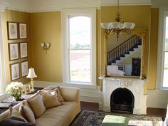 Victorian house, yellow living room walls.