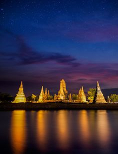 Old Temple wat Chaiwatthanaram of Ayuthaya Province, Thailand by Anek Suwannaphoom