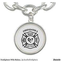Firefighters Wife Maltese Heart Bracelet Firefighter Emt, Firefighters Wife, Heart Bracelet, Charm Bracelets, Custom Charms, Heart Logo, Photo Charms, Black Felt, Mother Gifts