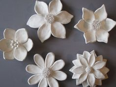 Flower Garden Wall Hanging, ceramic wildflower, blackberry, camelia, and daisy wall sculptures, flower art, floral art, spring, summer