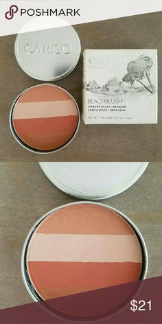 Cargo beach blush in coral Nib great blushes. This is perfect blush meets bronzer . Gives a slight glow to skin no shimmer at all. Cargo Makeup Blush