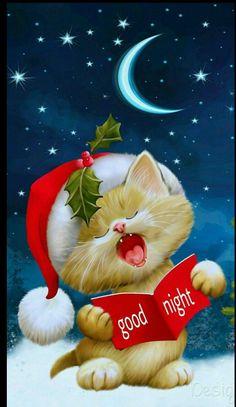Boa noite de sono · goodnight sweet dreams of a merry christmas! Good Night Sister, Cute Good Night, Good Night Sweet Dreams, Good Night Image, Good Morning Good Night, Christmas Cats, All Things Christmas, Christmas Holidays, Xmas