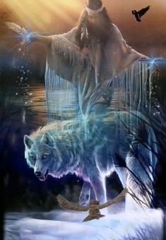 Oh my God bless this day Dark Fantasy Art, Fantasy Wolf, Beautiful Fantasy Art, Beautiful Gif, Native American Wolf, Native American Pictures, Native American Artwork, American Indian Art, Artwork Lobo