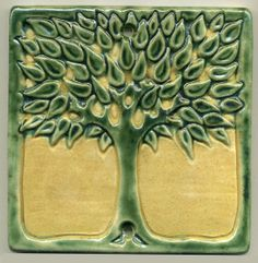 6 Square Art Nouveau style Tree Tile in Green by RavenstoneTiles, $39.00
