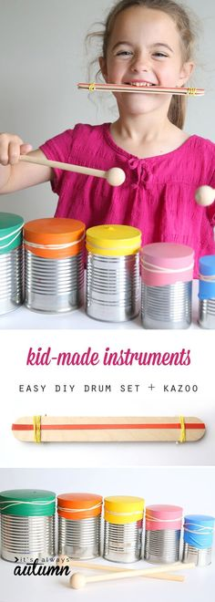 learn how to help your kids make a drum set and a kazoo. easy DIY musical instruments for kids. indoor activity ideas. #ad