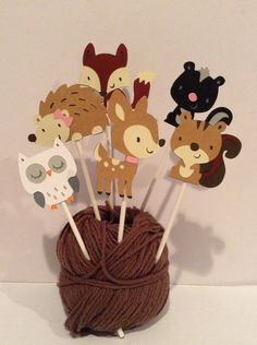 Woodland creatures cupcake toppers by BreakingPatterns on Etsy, $12.00