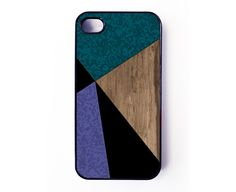 Iphone 4 Case Green Purple Black Color Block with by Basement22