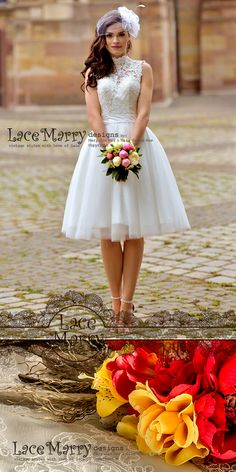 Puffy Knee Length Skirt with Soft and Airy Tulle Overlay is giving a Flirty and Girly feel! To make your Bridal Image more Special, I can make your Sash in another color. LaceMarry Dresses are Just For You! According Your Custom Measurements, Requests and Needs!