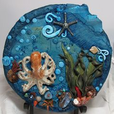 Polymer Clay Plate With Ceramic Octopus Ocean Scene on Handmade Artists' Shop Polymer Clay Painting, Polymer Clay Kunst, Polymer Clay Jewelry, Clay Plates, Clay Tiles, Clay Fish, Ocean Crafts, Play Clay, Clay Design