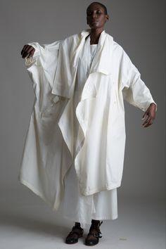 Vintage Issey Miyake Permanenete Coat, Rick Owens Top, Yohji Yamamoto Skirt and Givenchy Scarf. Designer Clothing Dark Minimal Street Style Fashion