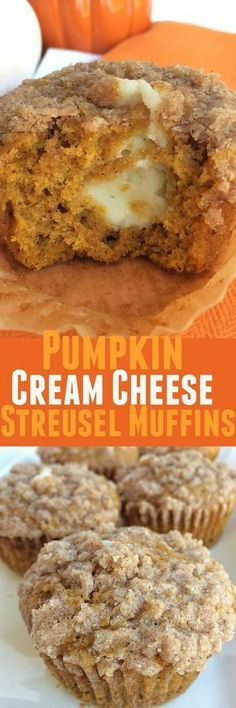 Pumpkin muffins with a sweet cheesecake center and topped with cinnamon streusel. These pumpkin cream cheese streusel muffins are the best. Fall Desserts, Just Desserts, Delicious Desserts, Dessert Recipes, Yummy Food, Pumpkin Recipes, Fall Recipes, Holiday Recipes, Summer Recipes